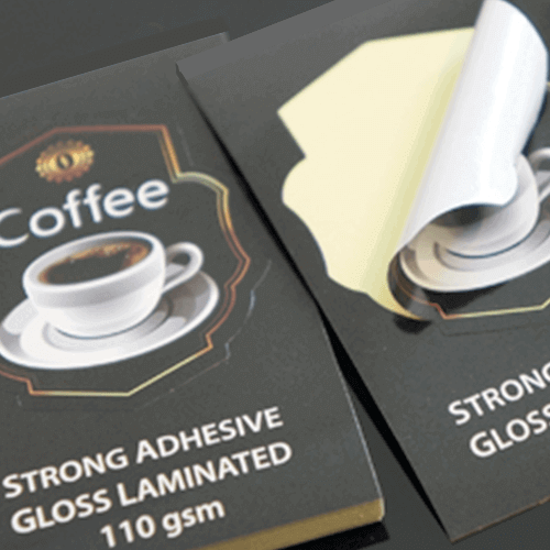 Permanent Gloss Labels 4 110gsm Strong Adhesive Gloss Laminated closeup Stickers1 Gotopress - Canada Printshop