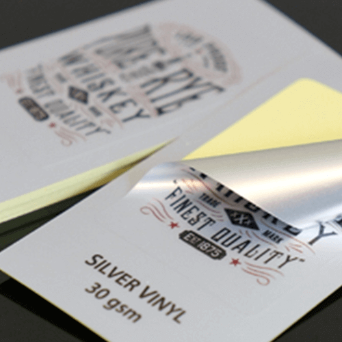 Gloss Silver Vinyl Labels 4 30gsm Silver Vinyl Stickers close up Gotopress - Canada Printshop