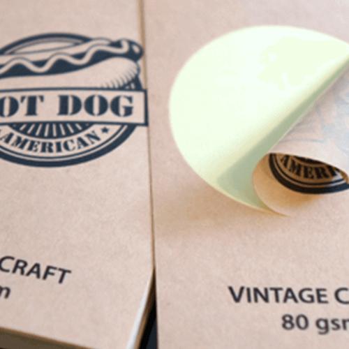 Brown Kraft Labels 4 80gsm Vintage Craft Paper Stickers close up Gotopress - Canada Printshop